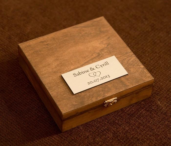 Bild mit der individuellen deluxe Geschenkbox und der personalisierten gravierten Etikette. Sie ist aus Holz und beinhaltet 9 Minis der Kollektion Best of.