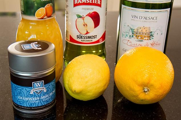 Bild mit den Zutaten für das Rezept für weissen Glühlwein.